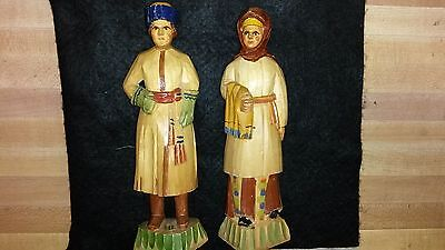 Ornate Antique Russian Hand Carved Wood Painted Man & Women Figurine Pair