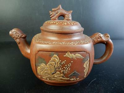 H843:Chinese Brown pottery Poetry pattern Shapely TEAPOT Kyusu Sencha,auto