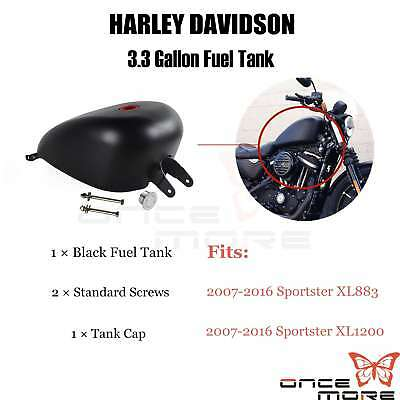 Motorcycle 3.3 Gallon EFI Gas Fuel Tank For 07 Up Harley Sportster XL 1200 883
