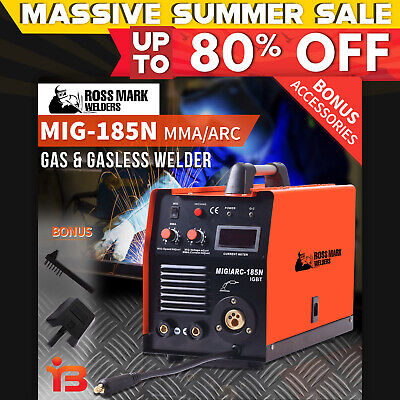 NEW ROSSMARK 185 Inverter Welder Gas & Gasless MIG ARC Portable Welding Machine