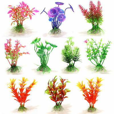 10pcs Plastic Plant Artificial Water Grass for Aquarium Fish Tank Ornament Decor