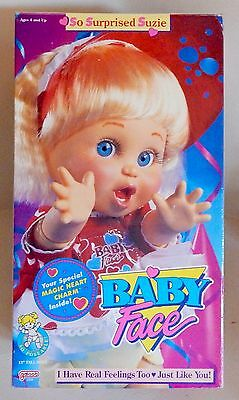 """Vintage Baby Face Doll """"So Surprised Suzie"""" By Galoob 13"""" New In Box NRFB (1990)"""