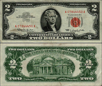 1963 $2 Dollar Bill Old Us Note Legal Tender Paper Money Currency Red Seal Y381