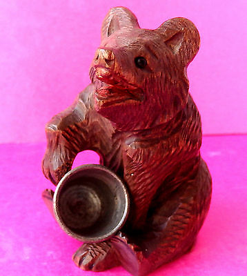 Antique Black Forest Carved Wood Seated Bear Sewing Thimble Holder