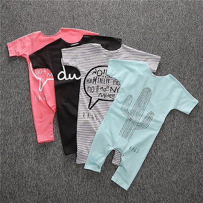 Cute Newborn Baby Boy Girl Short Sleeve Romper Jumpsuits Bodysuit Outfit Clothes