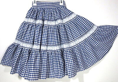 Vtg XS S Malco Modes PARTNERS PLEASE Square Dance SKIRT Tiered Circle Gingham