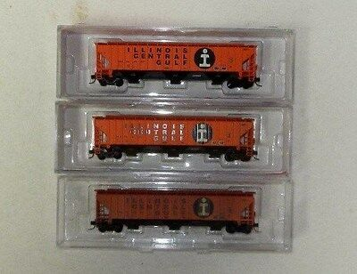 3 x InterMountain N Scale Illinois Central Gulf 3 Bay Covered Hoppers