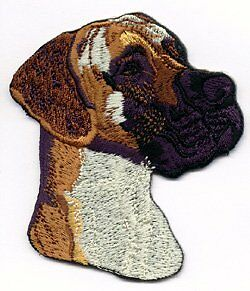 Embroidered Iron On / Sew On Patch Great Dane