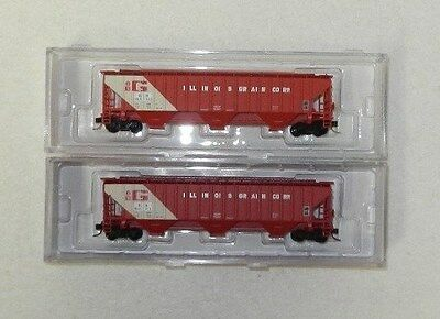 2 x InterMountain N Scale Burlngton Northern 3 Bay Covered Hoppers #1