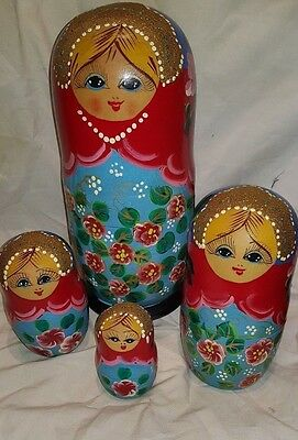 Set Very Large Russian Nesting Dolls Red, Gold & Blue Babushka Wooden only 4