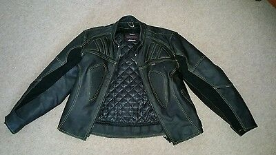 Black leather motorbike motorcycle jacket size L