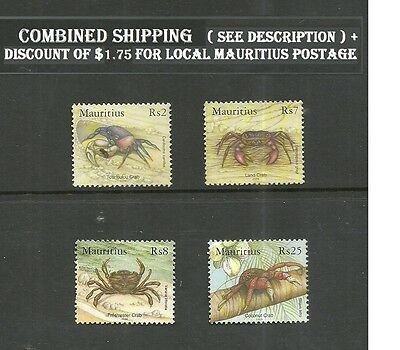 Crabs Of Mauritius Island Indian Ocean Stamps 2006 Mnh