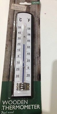 Wooden Garden Thermometer Outside Fahrenheit Celsius Approved by Charlie Dimmock
