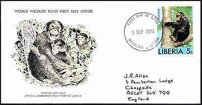 FDC - Liberia - 1976 World Wildlife Fund, Chimpanzee - First Day Cover