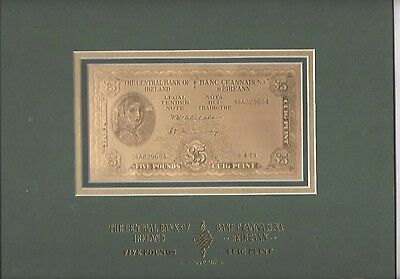 Irish Limited Edition 99.9% pure Gold Lavery £5 Note cuig puint