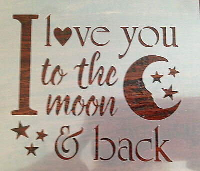 I Love you to the Moon Stencil Mylar Reusable Airbrush Art Craft Crafting Wall