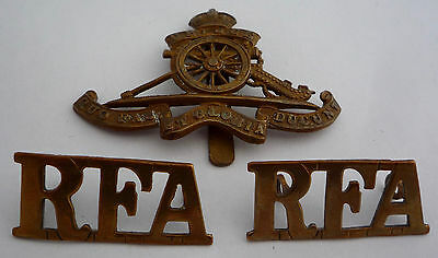 Ww1 Genuine Royal Field Artillery Cap Badge And Shoulder Titles