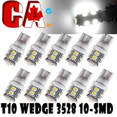 10 PCS Car T10 Xenon White LED 10-smd Wedge Light Bulb W5W 194 168 2825 158 192