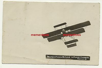 Dec 1912 Maurice Farman Biplane Flight Farnborough Aviation RP PC
