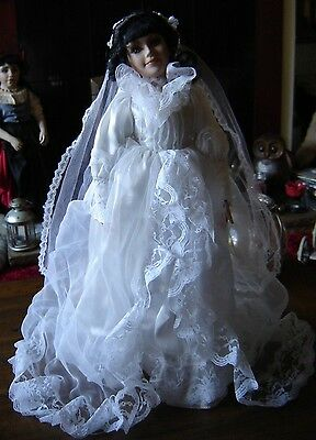 "The Knightsbridge Collection porcelain doll. Bride 17"" tall. BNIB"