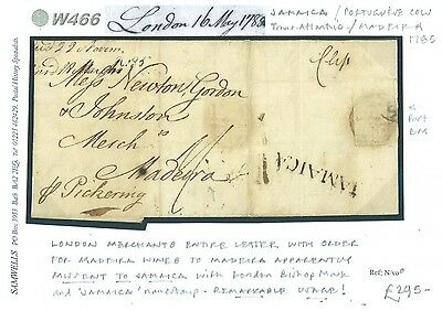 DBW466 1785 GB Madeira Mail EL MISSENT TO JAMAICA Transatlantic *Per Pickering*
