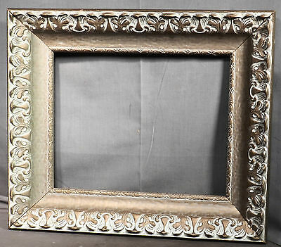 Vintage Mid Century Picture Frame Chalky White Gilt French Baroque 11x14 Massive