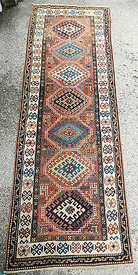 Antique Caucasian Kazak Tribal Long Rug Oriental Persian Runner 3x10 COLOR
