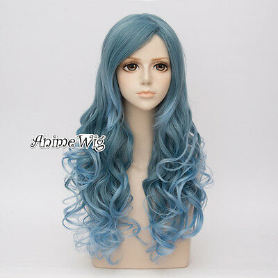 Mixed Gray Green Blue Ombre Lady Long Curly Lolita Cosplay Wig Heat Resistant