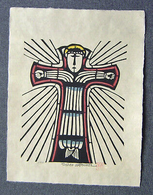SADAO WATANABE Japanese Stencil Print CHRIST ON THE CROSS