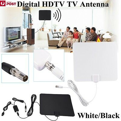 Digital Indoor Amplified HDTV TV Antenna High Gain with Adapter 50 Miles BLK/WHT