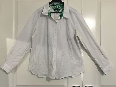 TRENT RESORT White Button up Long Sleeve Shirt Size 16
