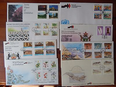 1980-90s ZIMBABWE COLLECTION OF 40 FDC & CORRESPONDING 38 SETS UNMOUNTED MINT
