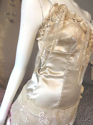 Gold Stretch Satin Silky Vintage Camisole Size 10-12