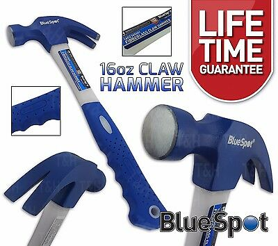 Claw Hammer Fibreglass 16oz Hardened Steel Curved Head Rubber Grip Nail Puller
