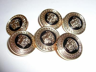 """6 GIANNI VERSACE MEDUSA HEAD GOLD METAL BUTTONS-6 x ¾"""" / 1.9 cms BUTTONS-UNUSED"""