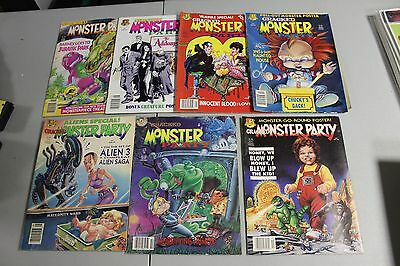 7 Cracked Monster Party magazines 1990 - 93 Godzilla Childs play pinhead Dracula
