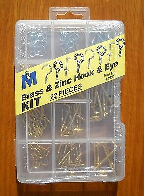 Brass & Zinc Hook & Eye Household Kit 92 Pieces by Midwest Fastener 14991
