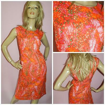 VINTAGE 60s RED ABSTRACT FLORAL PRINT MOD SHIFT DRESS 16 L 1960s SUMMER