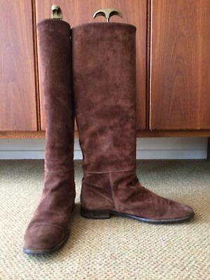 Russell and Bromley tall flat suede slouch boots, chestnut brown, size UK7