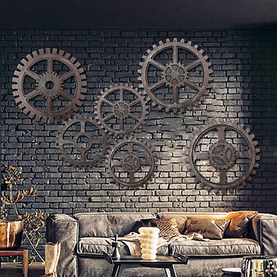 Vintage Retro Industrial Wood Wooden Gear Art Bar Cafe Wall Hanging Decoration
