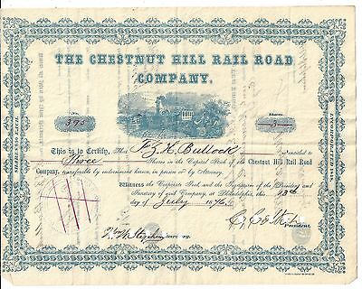 The Chestnut Hill Rail Road Company...1879 Stock Certificate