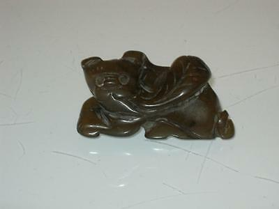 19th CENTURY CHINESE CARVED SOAPSTONE FOO DOG TOGGLE