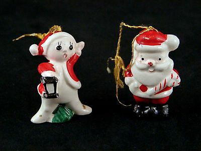 2 Vintage Christmas Holiday Figures Ornaments SANTA CRIER Porcelain Japan