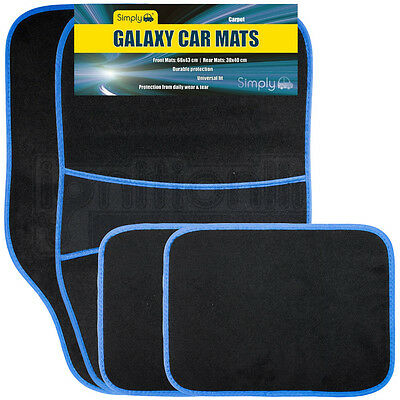 4 Piece Universal Fit Carpet Blue Trim Front & Rear Car Mats Non Slip Grip Floor