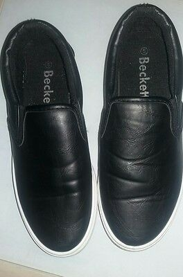 mens beckett black casual slip on shoes size: 5