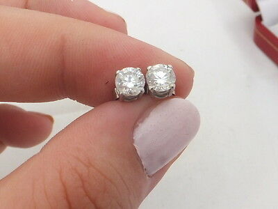 18ct/ 18k white gold 1 carat Diamond stud earrings, boxed, 750