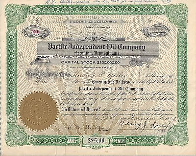 Pacific Independent Oil Company. (Scranton Pa).....1919 Stock Certificate