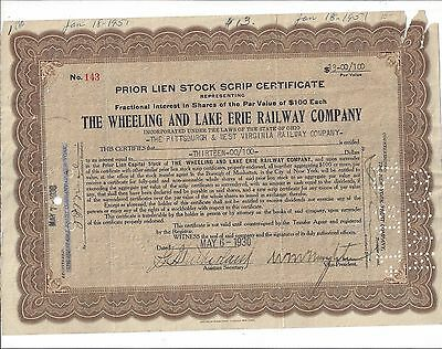 The Wheeling And Lake Erie Railway Company.....1930 Stock Scrip Certificate