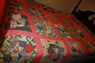 Antique Hand Sewn 8 Pointed Star Colorful Quilt 74 X 82