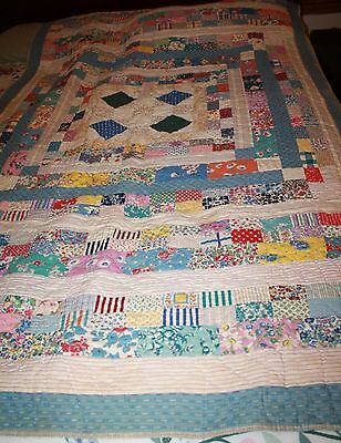 Antique Hand Sewn Patchwork Small Colorful Quilt 76 X 48